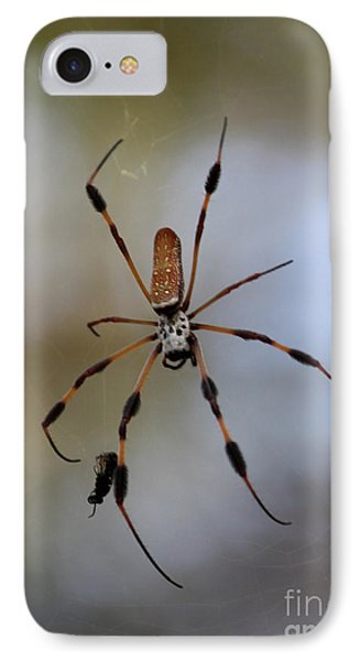 Banana Spider With Prey Phone Case by Carol Groenen