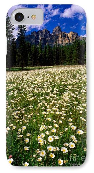 Banff - Castle Mountain Daisies Phone Case by Terry Elniski