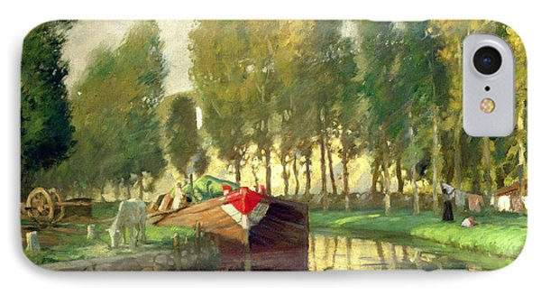Barge On A River Normandy Phone Case by Rupert Charles Wolston Bunny