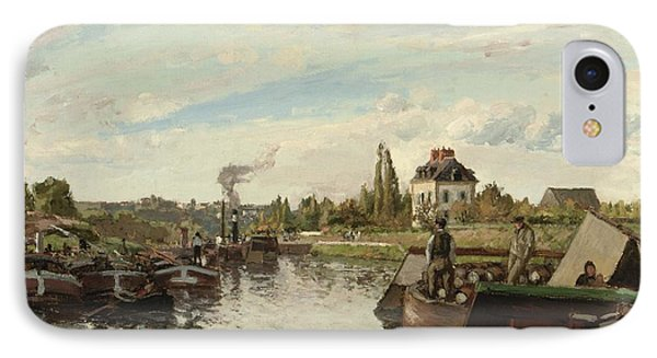 Barge On The Seine At Bougival IPhone Case by Camille Pissarro