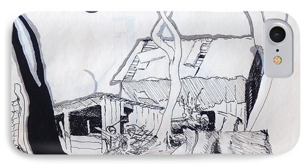 IPhone Case featuring the drawing Barn 4 by Rod Ismay