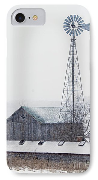 Barn And Windmill In Snow Phone Case by Larry Ricker