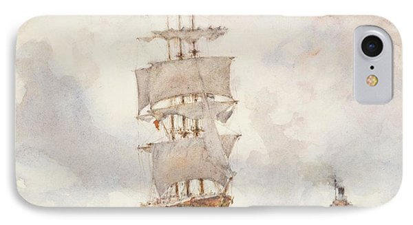 Barque And Tug Phone Case by Henry Scott Tuke