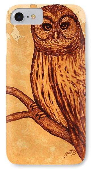 Barred Owl Coffee Painting Phone Case by Georgeta  Blanaru