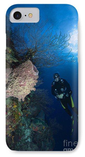 Barrel Sponge And Diver, Belize Phone Case by Todd Winner