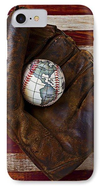 Baseball Mitt With Earth Baseball Phone Case by Garry Gay
