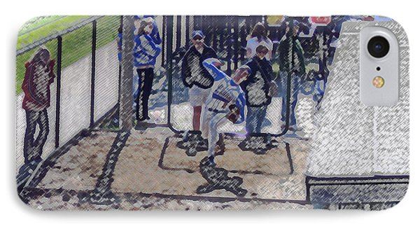 Baseball Pitcher Warming Up Digital Art Phone Case by Thomas Woolworth