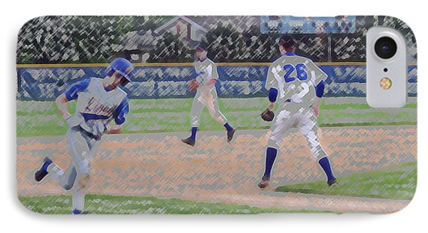Baseball Runner Heading Home Digital Art Phone Case by Thomas Woolworth