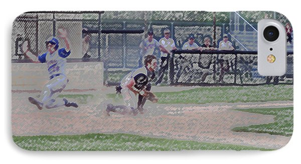 Baseball Runner Safe At Home Digital Art Phone Case by Thomas Woolworth