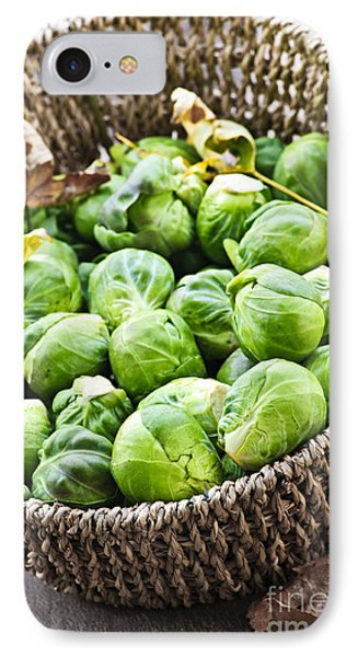 Cabbage iPhone 7 Case - Basket Of Brussels Sprouts by Elena Elisseeva