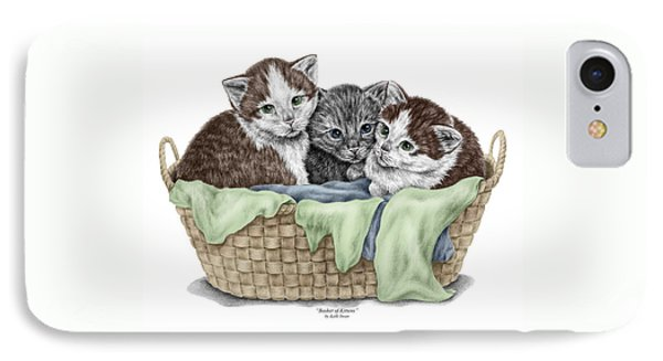 IPhone Case featuring the drawing Basket Of Kittens - Cats Art Print Color Tinted by Kelli Swan