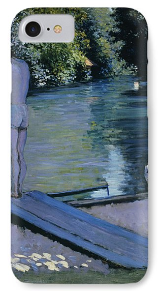 Bather About To Plunge Into The River Yerres Phone Case by Gustave Caillebotte