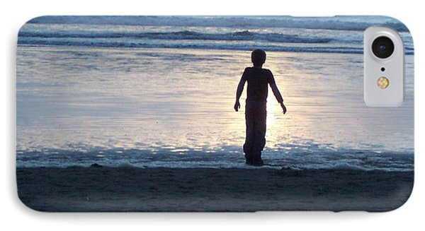 Beach Boy Silhouette IPhone Case by Peter Mooyman