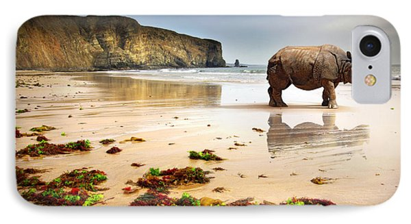 Beach Rhino Phone Case by Carlos Caetano