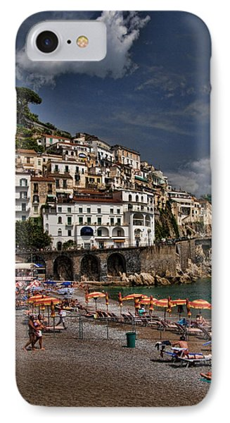 Beach Scene In Amalfi On The Amalfi Coast In Italy Phone Case by David Smith