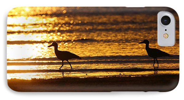 Beach Stone-curlews At Sunset Phone Case by Bruce J Robinson