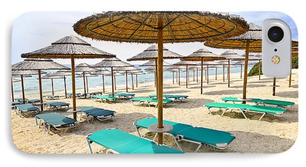 Beach Umbrellas On Sandy Seashore IPhone Case