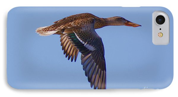 IPhone Case featuring the digital art Beautiful Duck Flying by John  Kolenberg