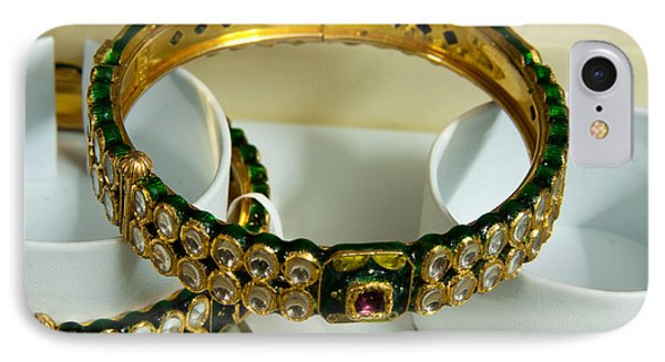 Beautiful Green And Purple Covered Gold Bangles With Semi-precious Stones Inlaid Phone Case by Ashish Agarwal