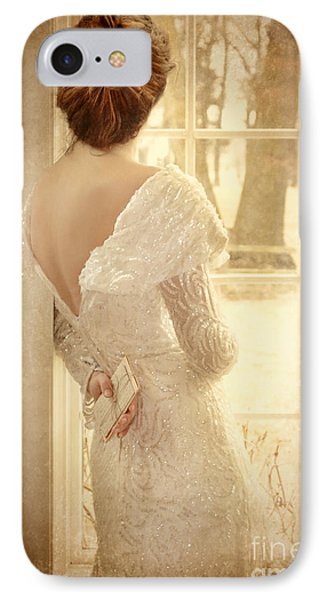 Beautiful Lady In Sequin Gown Looking Out Window Phone Case by Jill Battaglia