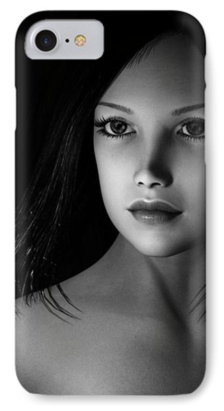 Beautiful Portrait - Black And White IPhone Case by Maynard Ellis
