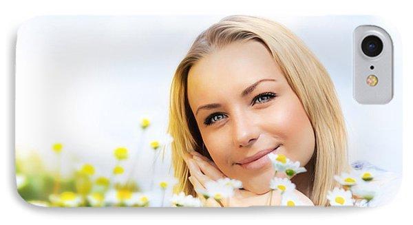 Beautiful Woman Enjoying Daisy Field And Blue Sky Phone Case by Anna Om