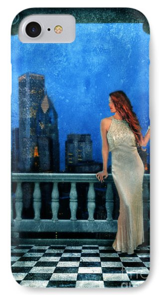 Beautiful Woman In Evening Gown With City Night View Phone Case by Jill Battaglia