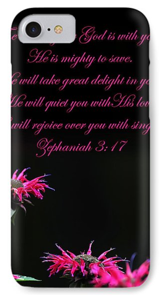 IPhone Case featuring the photograph Bee Balm And Bible Verse by Randall Branham