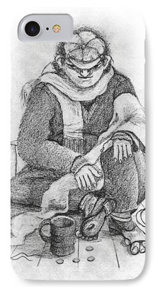Beggar 2  In The  Winter Street Sitting On Floor Wearing Worn Out Cloths IPhone Case