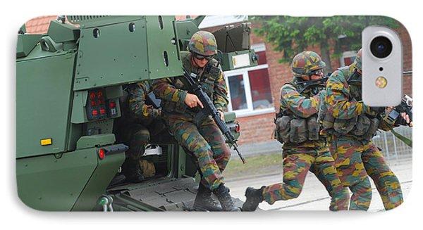 Belgian Infantry Soldiers Exit Phone Case by Luc De Jaeger