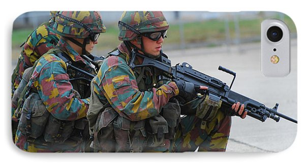 Belgian Infantry Soldiers In Training Phone Case by Luc De Jaeger