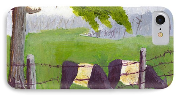 Belted Galloway Cow Painting Rockport Maine IPhone Case by Keith Webber Jr