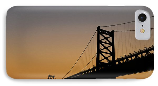 Ben Franklin Bridge Sunrise Phone Case by Bill Cannon