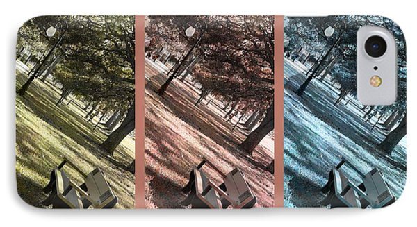 Bench In The Park Triptych  Phone Case by Susanne Van Hulst
