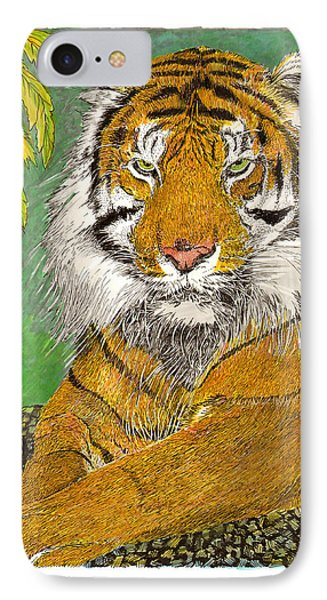Bengal Tiger With Green Eyes IPhone Case by Jack Pumphrey