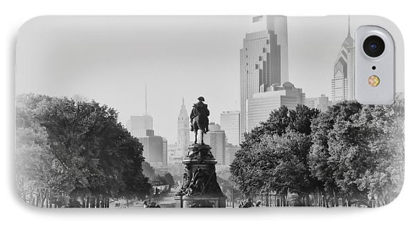 Benjamin Franklin Parkway In Black And White Phone Case by Bill Cannon