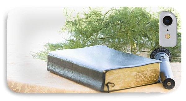 Bible And Microphone On Table Phone Case by Ned Frisk
