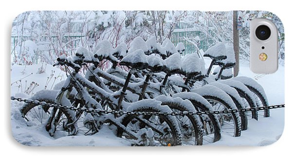 Bicycles In The Snow IPhone Case by Heidi Smith