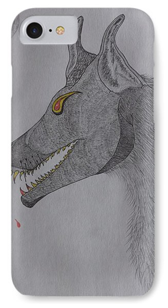 IPhone Case featuring the drawing Big Bad Wolf by Gerald Strine