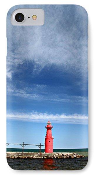 Big Sky Over Algoma Lighthouse Phone Case by Mark J Seefeldt