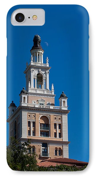 IPhone Case featuring the photograph Biltmore Hotel Tower And Moon by Ed Gleichman