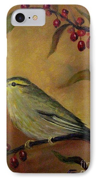 IPhone Case featuring the painting Bird And Berries by Gretchen Allen