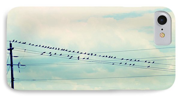 Birds On Wires Blue Tint Phone Case by Paulette B Wright