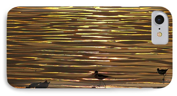 IPhone Case featuring the photograph Birds Walking In Gold Water Waves by John  Kolenberg