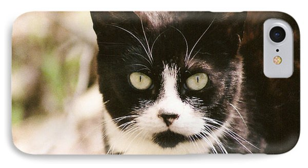 IPhone Case featuring the photograph Black And White Feral Cat by Chriss Pagani