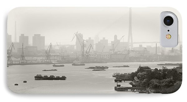 Black And White Of Cranes And River Traffic Phone Case by Jeremy Woodhouse