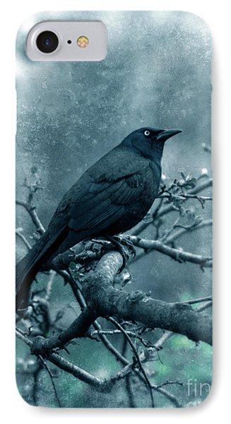 Black Bird On Branch Phone Case by Jill Battaglia