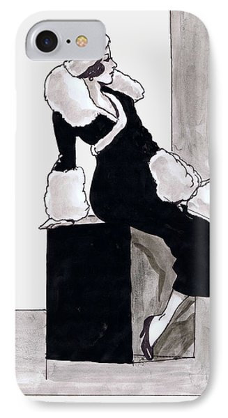 Black Dress With Fur Phone Case by Mel Thompson