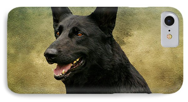 Black German Shepherd Dog IIi IPhone Case by Sandy Keeton