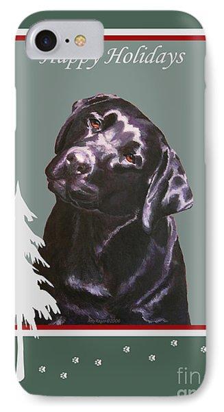Black Labrador Portrait Christmas IPhone Case